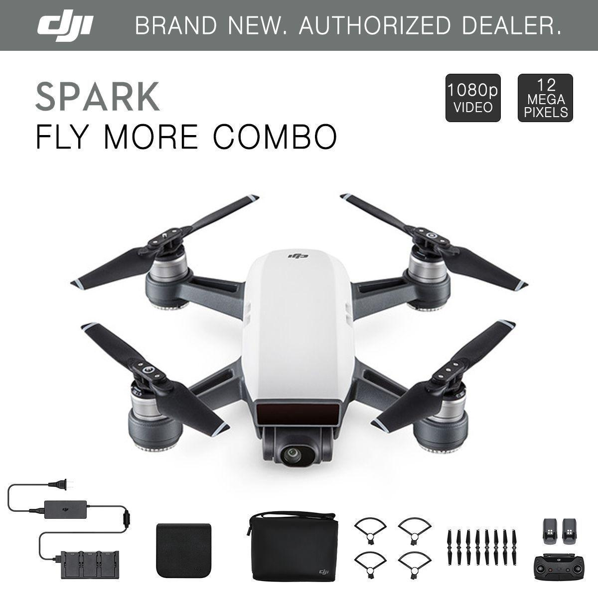DJI Spark Fly More Combo Alpine White Quadcopter Drone 12MP 1080p