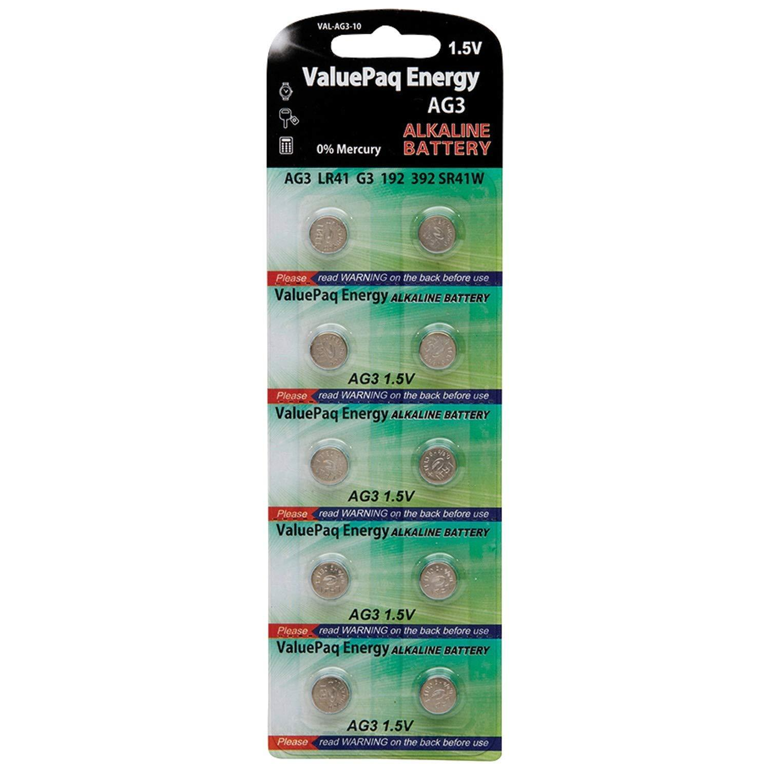 10 PACK ALKALINE REPLACEMENT FOR AG3, SG3, 384, 392, LR41W, SR41SW,