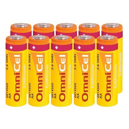 10x OmniCel ER14505 3.6V 2400mAh AA Lithium Button Top Battery Sensors Detectors