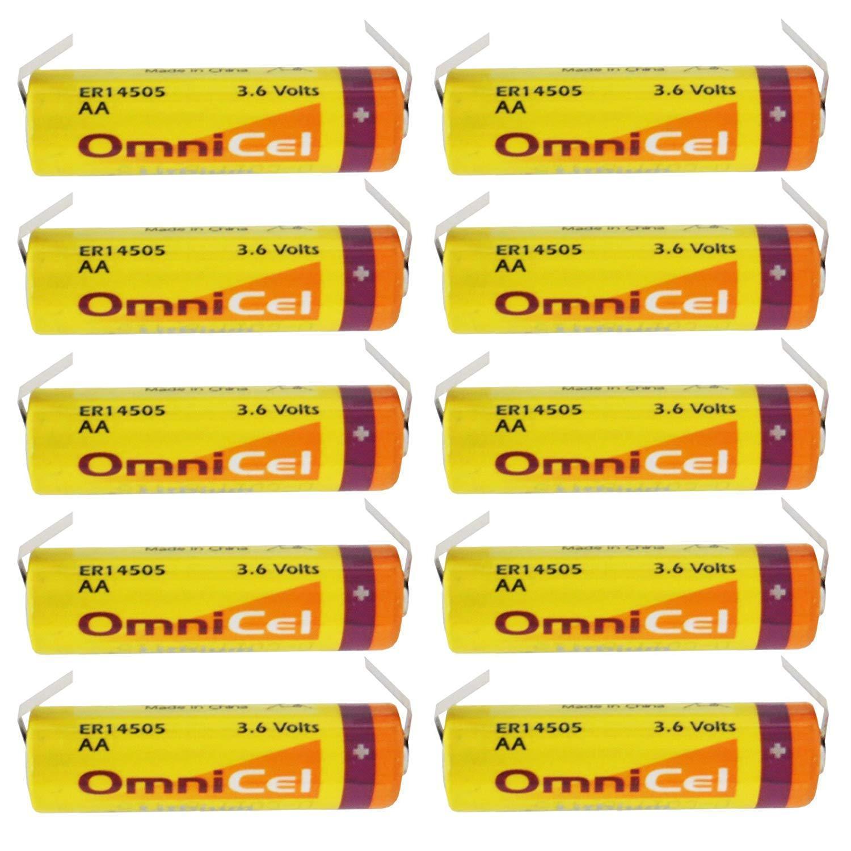 10x OmniCel ER14505 3.6V 2.4Ah Sz AA Lithium Battery Tabs Sensors Detectors