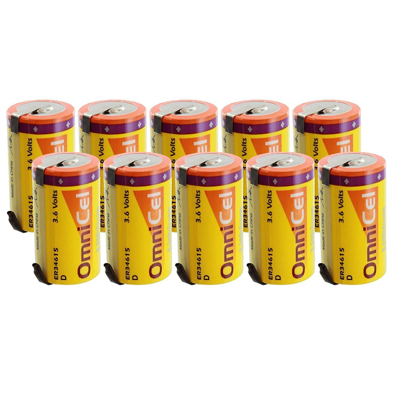 10x OmniCel ER34615 3.6V 19 Ah D High Energy Lithium Battery Tabs