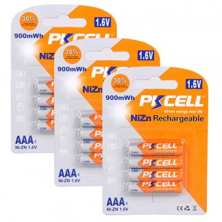 1.6V AAA 900mWh Ni-Zn Rechargeable Battery 12PC