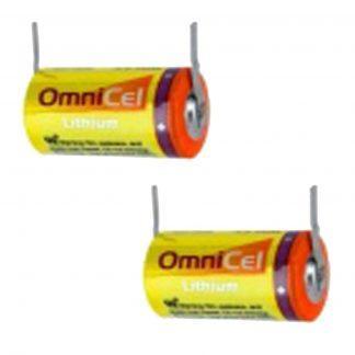 2X OmniCel ER14335 3.6V 1.65Ah 2/3AA Lithium Battery w/Tabs Sensors Detectors