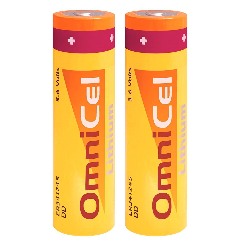 2X OmniCel ER341245 3.6V 35Ah Sz DD Lithium Standard Battery RFID AMR Backup
