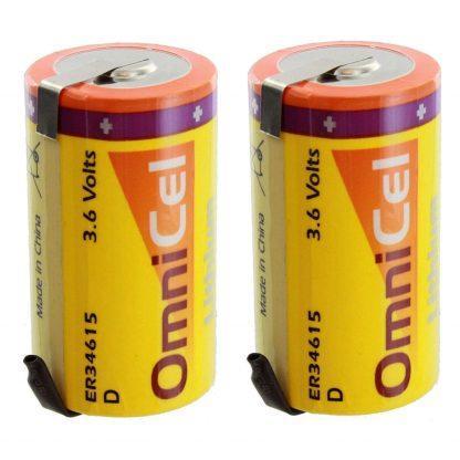 2X OmniCel ER34615 3.6V 19 Ah D High Energy Lithium Battery Tabs Sensor Detector
