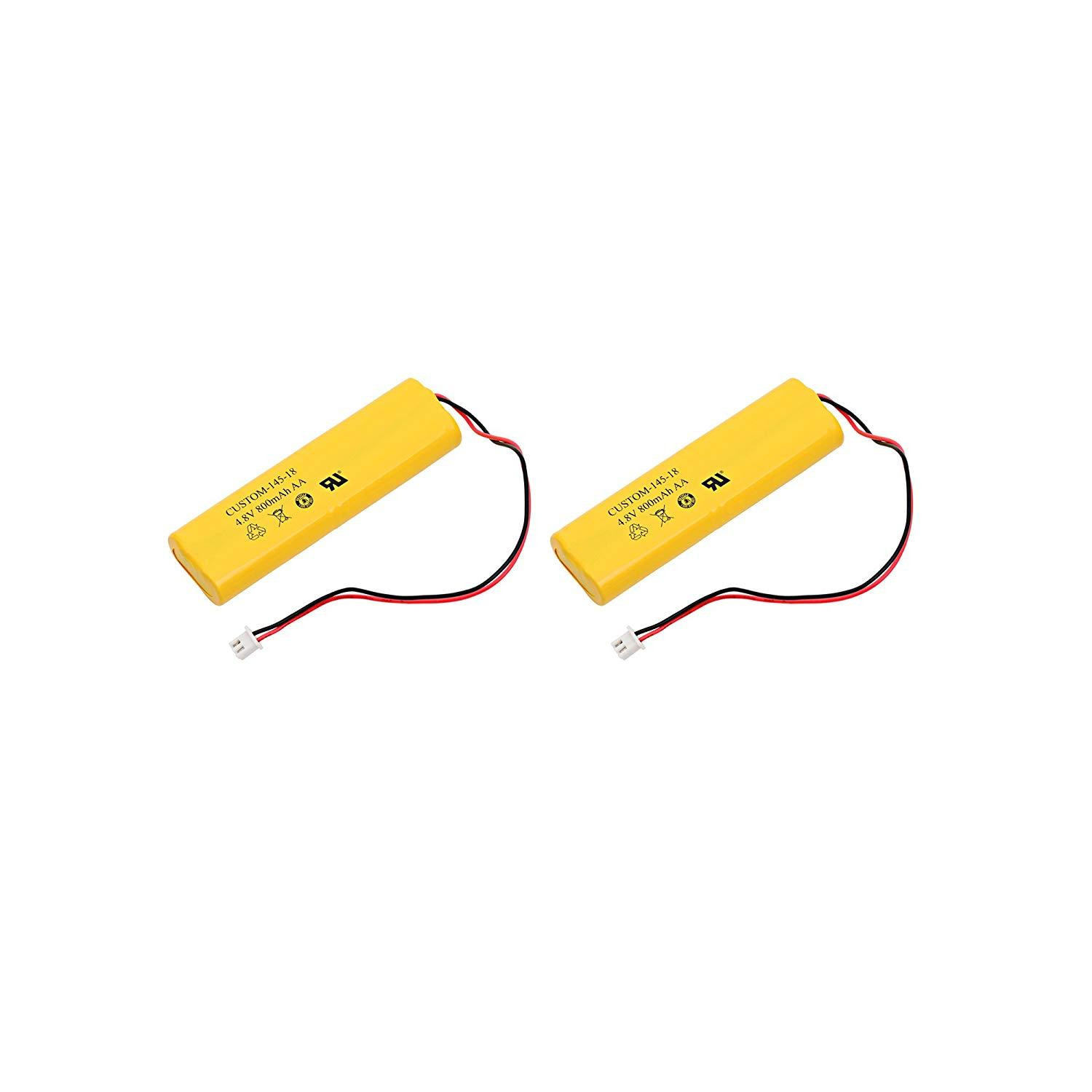 2pc Dantona Replacement Emergency Light Battery For BYD D-AA650B-4, Exell EBE-145-18 and more