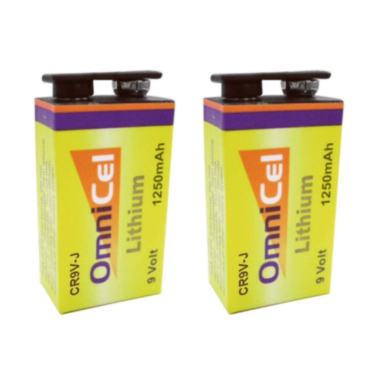 2pcs OmniCel CR9V-J 9V 1250mAh Lithium Battery w/Snap Connector FAST USA SHIP
