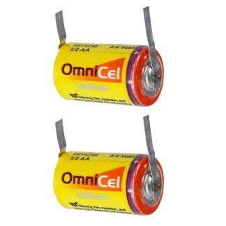 2x OmniCel ER14250 3.6V 1/2AA Lithium Standard Battery Tabs Sensors Detectors