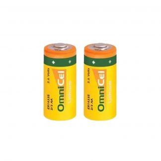 2x OmniCel ER14335 3.6V 1.65Ah 2/3AA Lithium Button Top Battery Sensors Detector