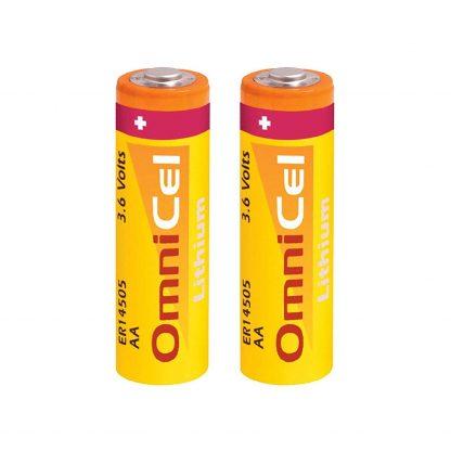 2x OmniCel ER14505 3.6V 2400mAh AA Lithium Button Top Battery Sensors Detectors