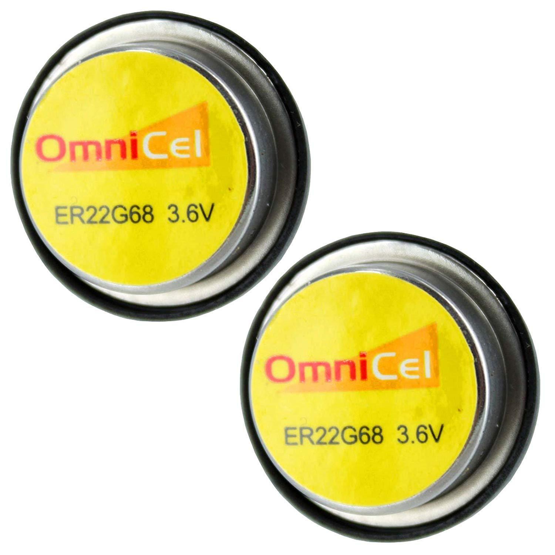 2x OmniCel ER22G68 3.6V 0.4Ah Bel Cell Waffer Lithium Battery Track Backup AMR