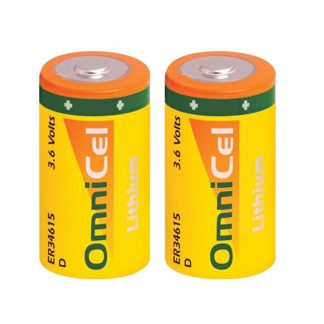 2x OmniCel ER34615 3.6 Volt 19Ah Sz D Lithium Button Top Battery