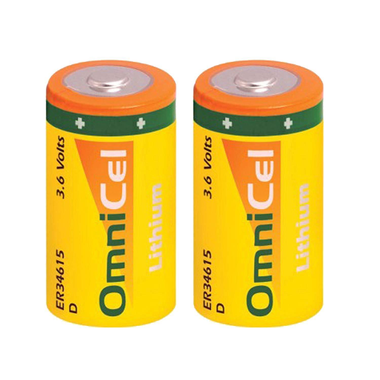 2x OmniCel ER34615 3.6 Volt 19Ah Sz D Lithium Button Top Battery