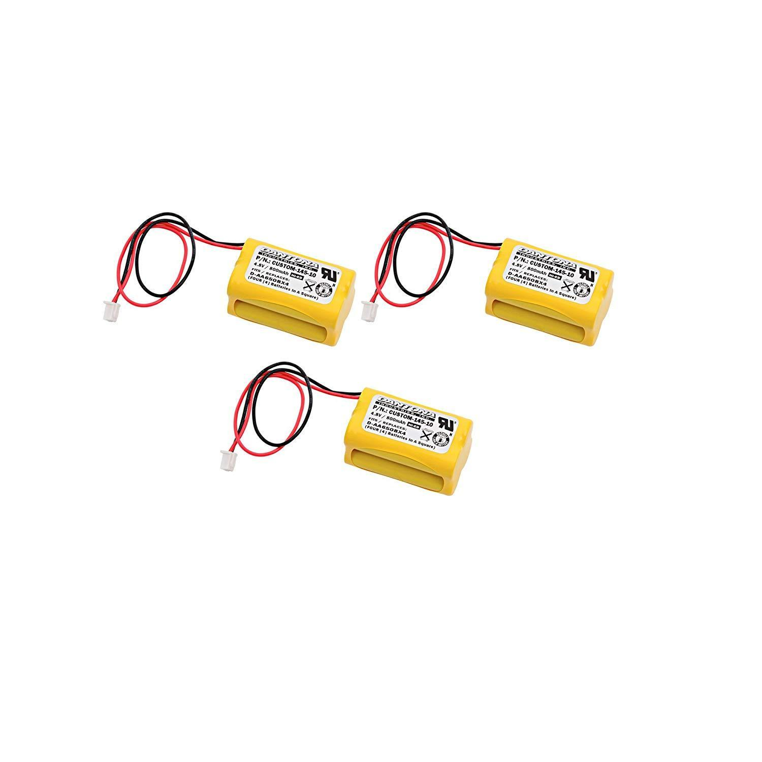 3pc Dantona Replacement 4.8 Volt 800 mAh Nickel Cadmium battery for All Fit - E1021R, Exell EBE-145-10 and more