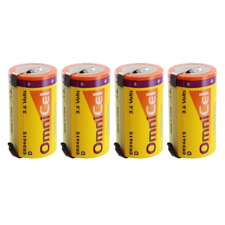 4X OmniCel ER34615 3.6V 19Ah D High Energy Lithium Battery Tabs Meter Telematics