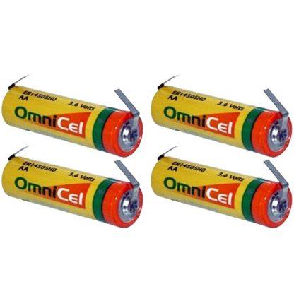 4x OmniCel ER14505HD 3.6V Sz AA Lithium Battery Tabs Tracking Backup AMR