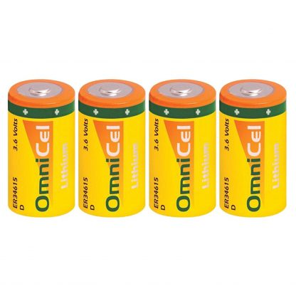 4x OmniCel ER34615 3.6 Volt 19Ah Sz D Lithium Button Top Battery Telematics