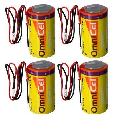 4x OmniCel ER34615 3.6V 19Ah Sz D Lithium Battery Wire Leads RFID AMR Backup