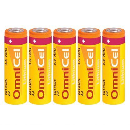 5x OmniCel ER14505 3.6V 2400mAh AA Lithium Button Top Battery Respirator Medical