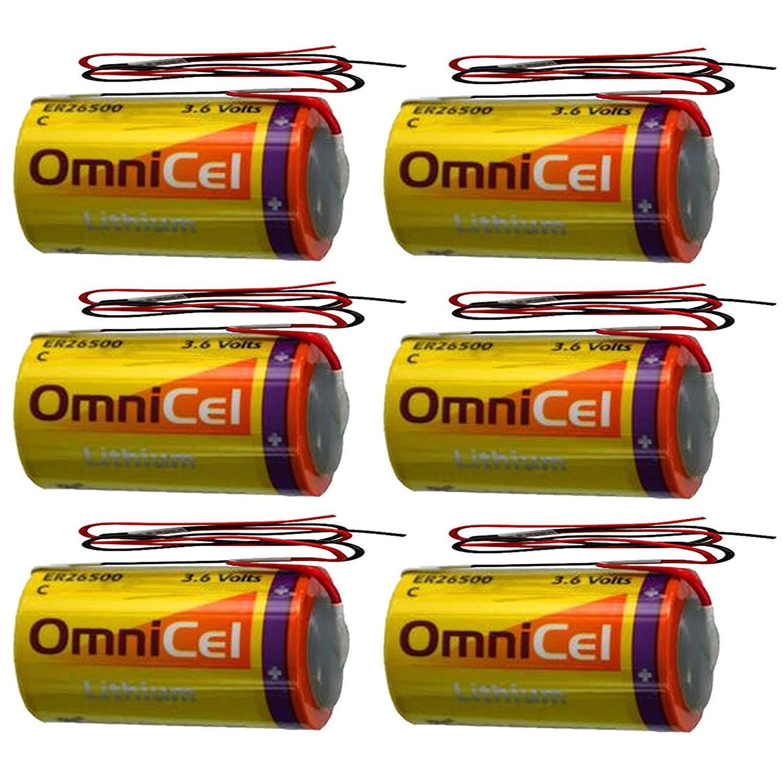 6X OmniCel ER26500 3.6V 8.5Ah Sz C Lithium Battery Wire Leads AMR Backup
