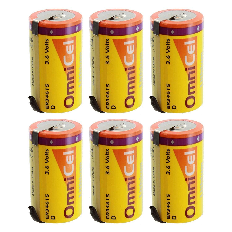6X OmniCel ER34615 3.6V 19 Ah D High Energy Lithium Battery Tabs Medical