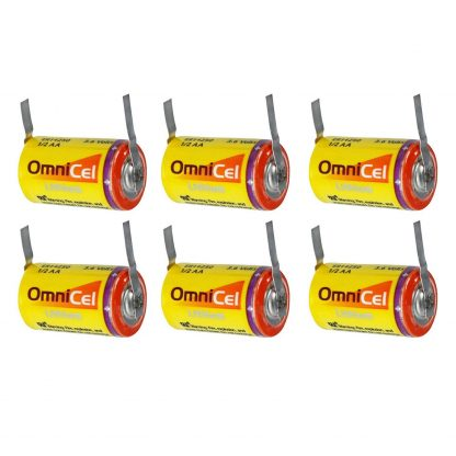 6x OmniCel ER14250 3.6V 1/2AA Lithium Standard Battery Tabs Sensors Detectors