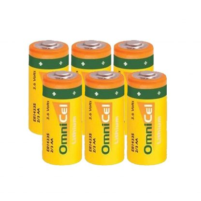 6x OmniCel ER14335 3.6V 1.65Ah 2/3AA Lithium Button Top Battery AMR Backup