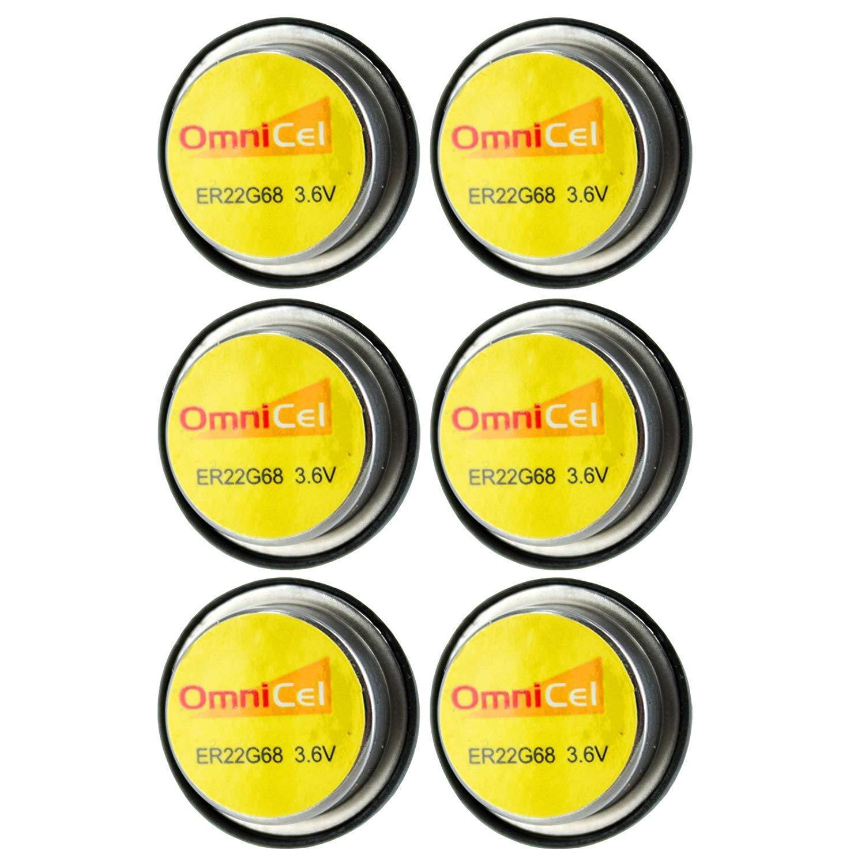 6x OmniCel ER22G68 3.6V 0.4Ah Bel Cell Waffer Lithium Battery Tracking Backup