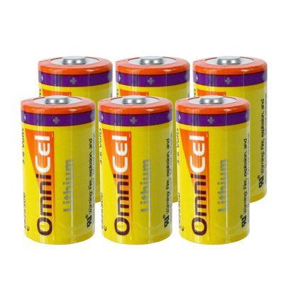 6x OmniCel ER26500 3.6V 8.5Ah Sz C Lithium Button Top Battery Sensors Detector
