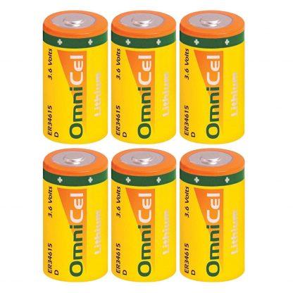6x OmniCel ER34615 3.6 Volt 19Ah Sz D Lithium Button Top Battery Sensors AMR