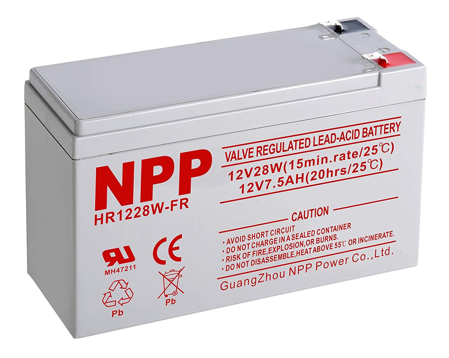 NPP 12V-7.5Ah High Rate Long Life Rechargeable Lead Acid 12V 7.5Ah UPS Battery Terminal F2