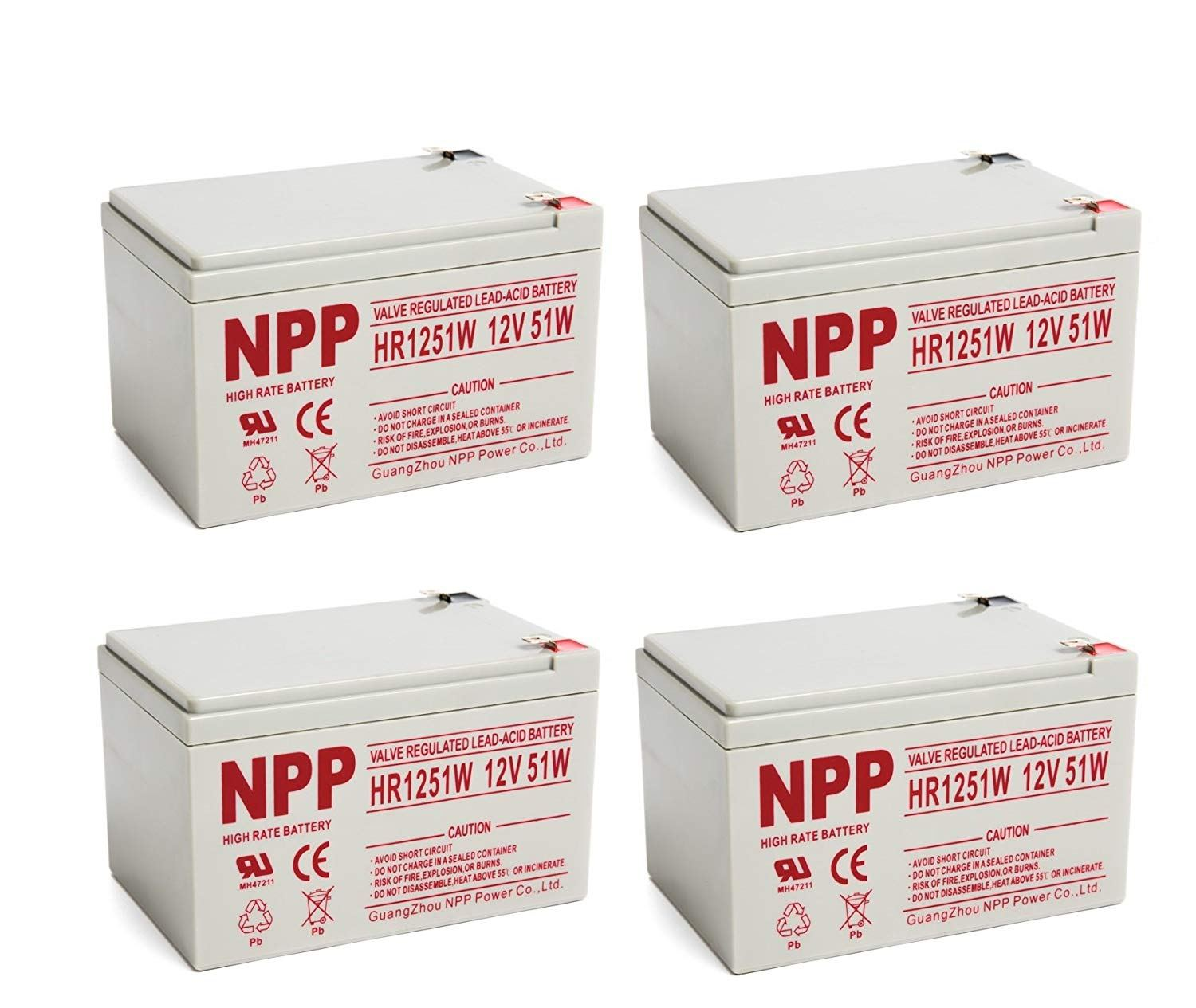 NPP HR1251W FR 12V 51W(15min.Rate) Sealed Lead Acid UPS 12V 14Ah Battery with F2 Style Terminals / (4pcs)