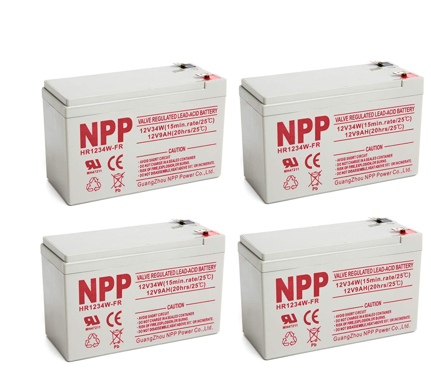 NPP High Rate HR1234W FR 12V 34W(15min.Rate) SLA UPS 12V 9Ah Battery with F2 Style Terminals / (4pcs)