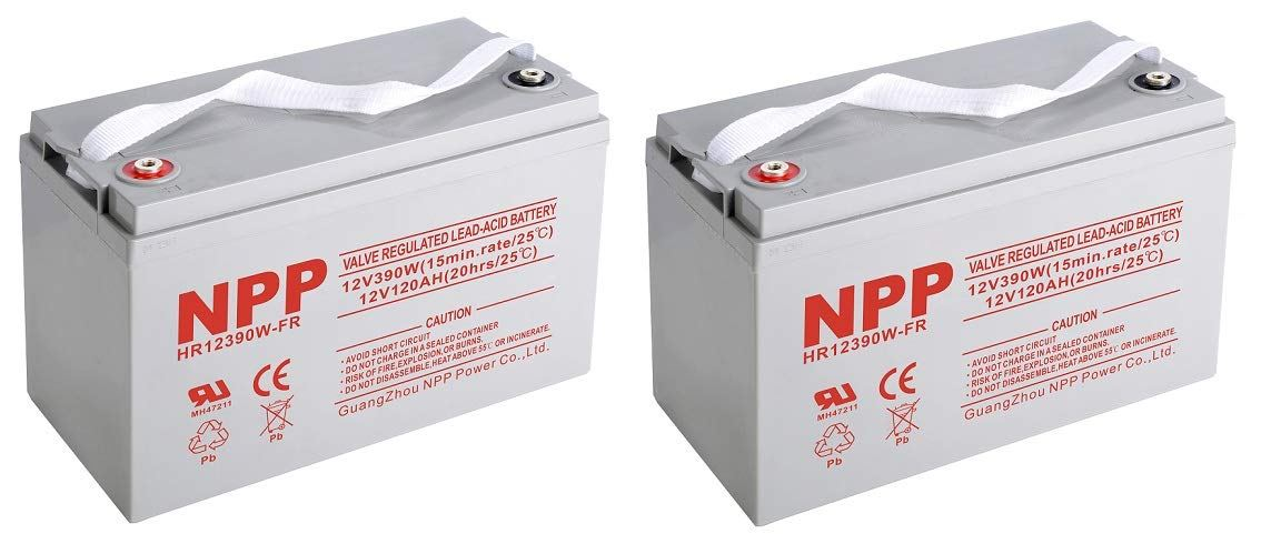 NPP High Rate HR12390W 12V 390W AGM Sealed Lead Acid Deep Cycle 12V 120Ah Battery with Button Style Terminals (2Pack)
