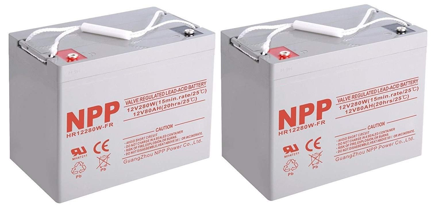 NPPower 12V 280W High rate 12V 80Ah Rechargeable Sealed Lead Acid Battery( 2pcs)