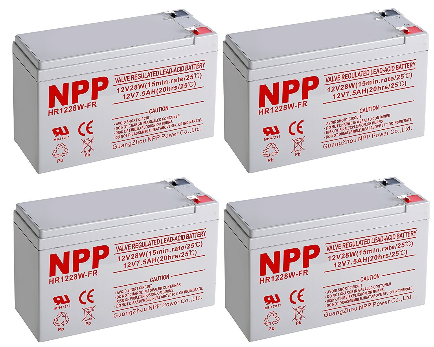 NPPower HR12V 28W High Rate SLA 12V 7.5Ah Battery F2 Style Terminals / (4pcs)