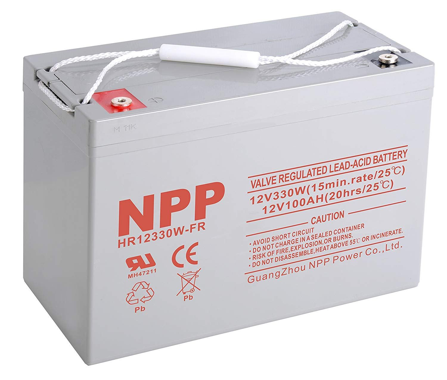 NPPower HR12V330W FR Rechargeable High Rate Sealed Lead Acid 12V 330W 12V 100Ah Battery Button Style Terminals