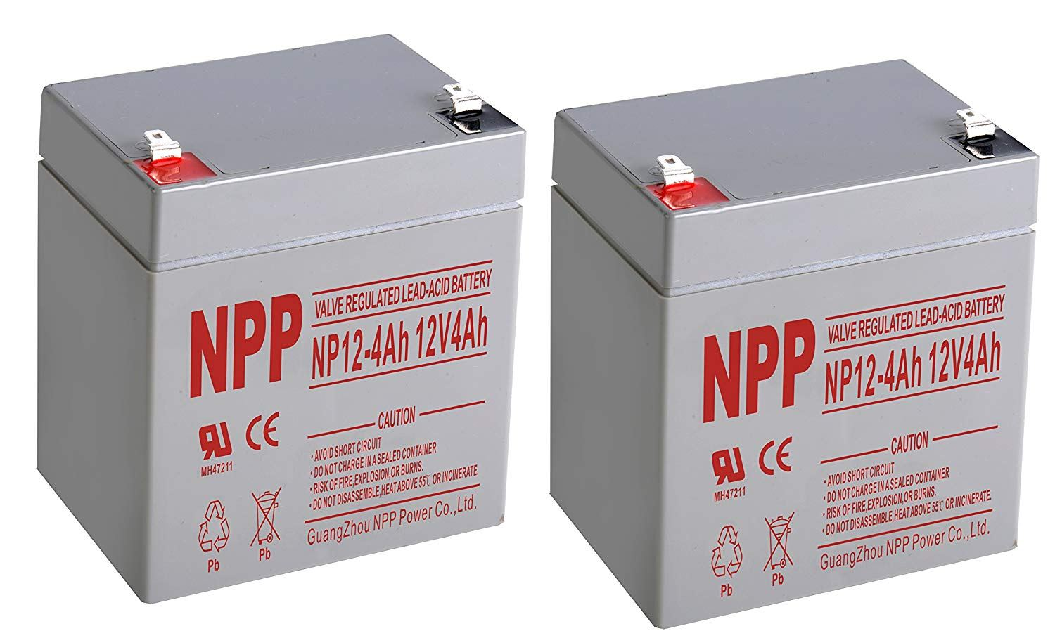 NPPower NP12V 4Ah SLA Sealed Lead Acid 12V 4Ah Battery With F1 Style Terminals/(2pcs)