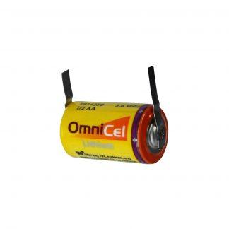 OmniCel ER14250 3.6V 1/2AA Lithium High Energy Battery with Tabs Replaces Maxell ER3 ER3S ER3S-TC, Minamoto ER14250, Saft LS-14250 LS-14250C, Eagle Pitcher PT-2150