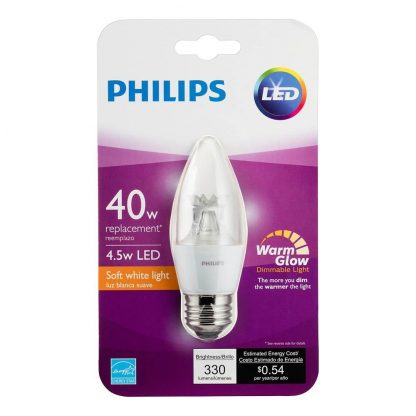 Philips LED B12  Dimmable Candle Light Bulb with Warm Glow Effect: 330-Lumen, 2700-2200 Kelvin, 4.5-Watt (40-Watt Equivalent), E26 Medium Base, Soft White, 10-Pack