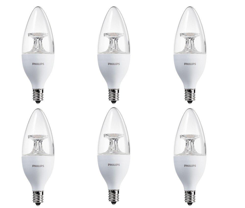 Philips LED Chandelier Bulb 6 Pack, 40 Watt Equivalent, Soft White (2700K) B11 Decorative Candle, Dimmable, Candelabra Base
