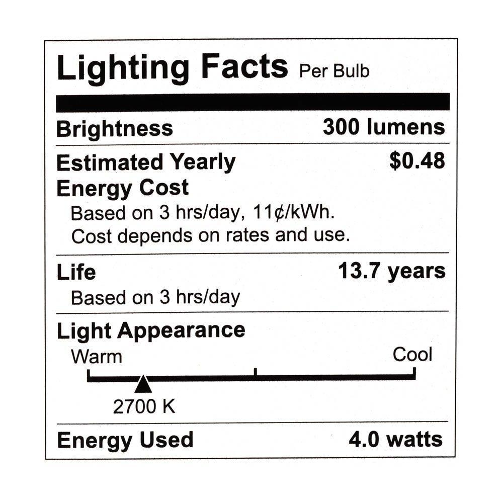 Philips Watt Equivalent Dimmable LED Light Bulb, Candelabra Base