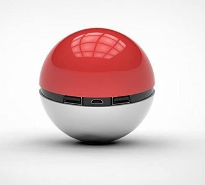 Pokeball Power Bank, 12000mAh Battery Charger with LED Light for Pokemon GO, Pokémon GO Go AR Games Red White iPhone Samsung Android Phone