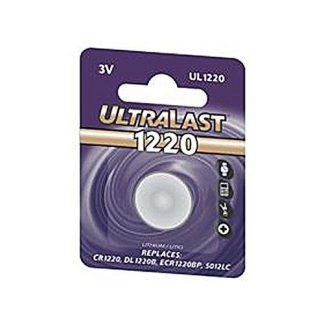 Ultralast UL1220 Replaces CR1220, DL1220B, ECR1220BP, 5012LC - Lithium, 36 mAh, 3 volts