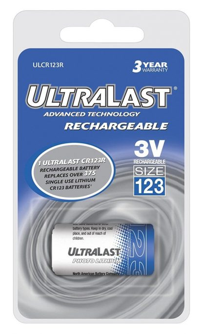 UltraLast CR123 Rechargeable Battery Carded  1-Pack