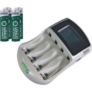 UltraLast Green High Speed 1-Hr 4AA/AAA Charger Kit