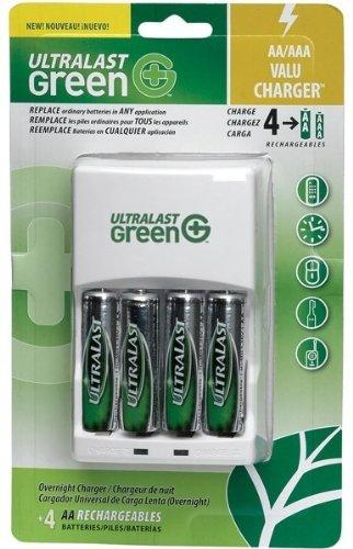 Ultralast AA/AAA Battery Charger with 4 Green AA Precharged Batteries ULGVALUE4
