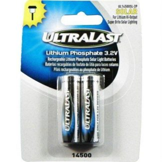 Ultralast - Lithium Phosphate Rechargeable Batteries for 3.2 Volt Outdoor Solar Lighting - 600mAh, Model: UL14500SL, Electronic Store & More