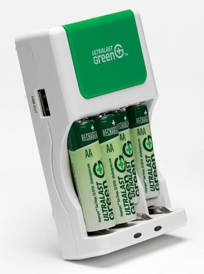 Ultralast ULGFAMILY Green Charger with 2 AA and 2 AAA Precharged Batteries