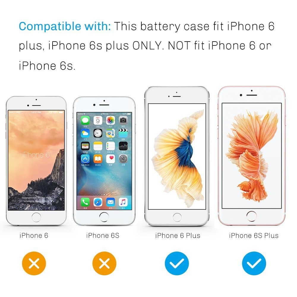 iPhone 6 Plus / 6S Plus Battery Case, 3500mAh Rechargeable Backup Battery Charger Power Bank Pack Compact Slim Fit